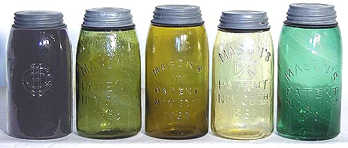 colored Masons 1858  fruit jars