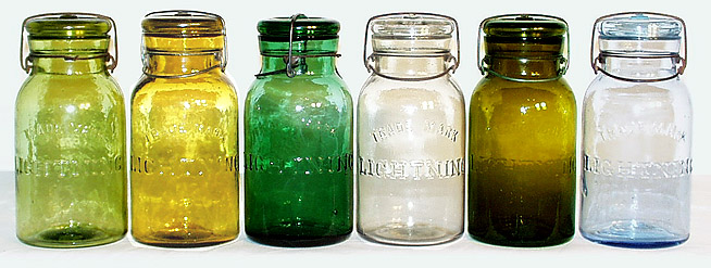 Colored Trade Mark Lightning Jars