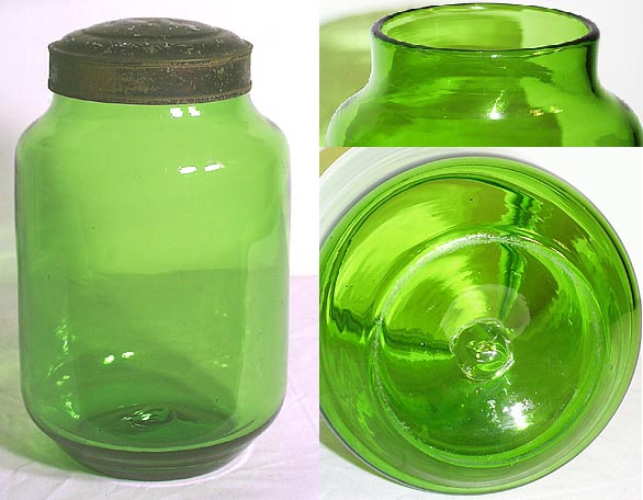 Superb Rare YELLOW GREEN Pontiled Storage Jar You See These Free Blown 19th  Century Storage Jars In Clear Glass, But To Find A Colored Example Is Rare.