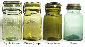 Various Medium Green Pint Size Fruit Jars