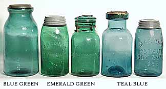 Rare Deep Green Colored Fruit Jars