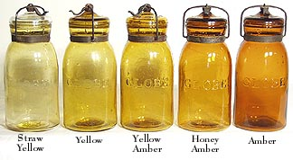 5 Globe Fruit Jars in Shades of Amber