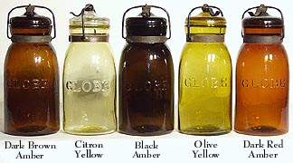 5 Globe Fruit Jars in Shades of Deep Amber