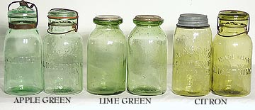 Apple Green Lime Green and Citron Jars