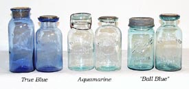 True Blue Jars Compared to Aqua and Ball Blue